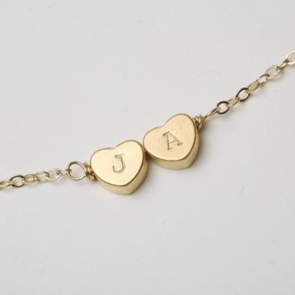 Two Heart-Shaped Initial Engraved N..