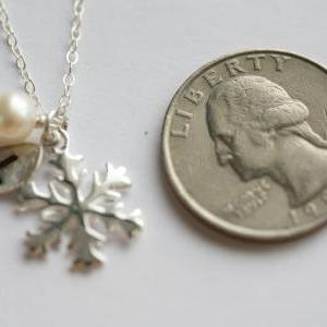 SNOWFLAKE necklace,leaf initial,Wir..