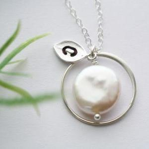 Eternity circle necklace,Coin Pearl..