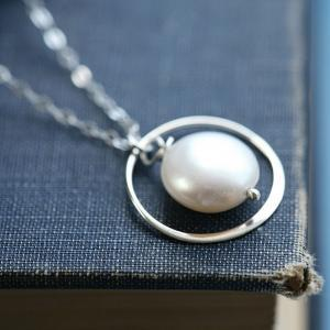 Circle necklace,Coin pearl sterling..