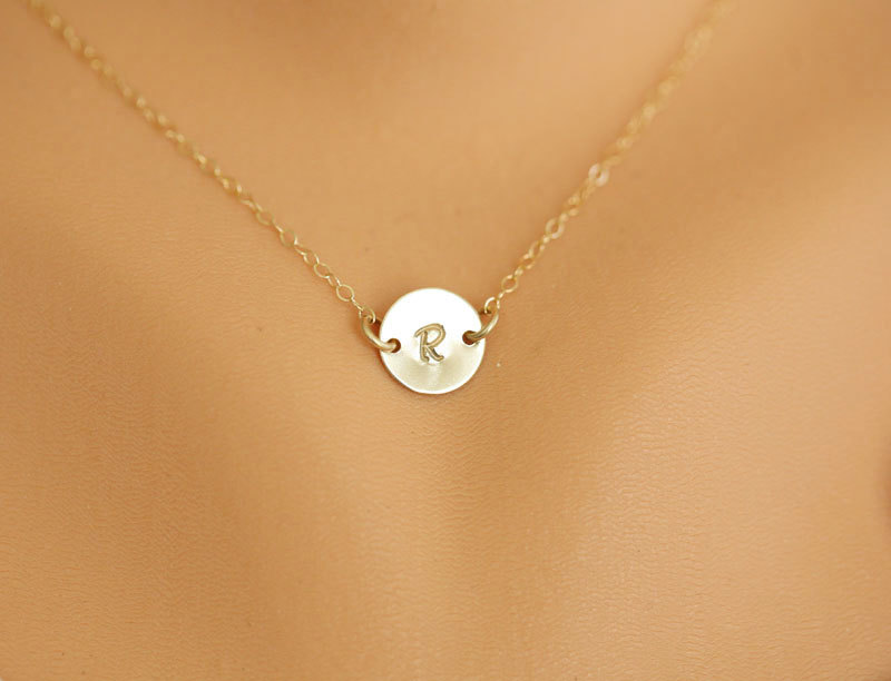 monogram necklace gold initial disc charm necklacesmall initial letter charmbridesmaids gifts