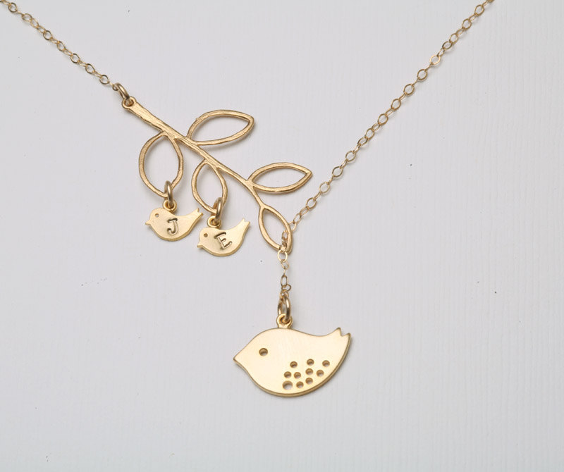 Baby Gift Jewelry For Mom : Gold bird initial necklace mom and baby mother