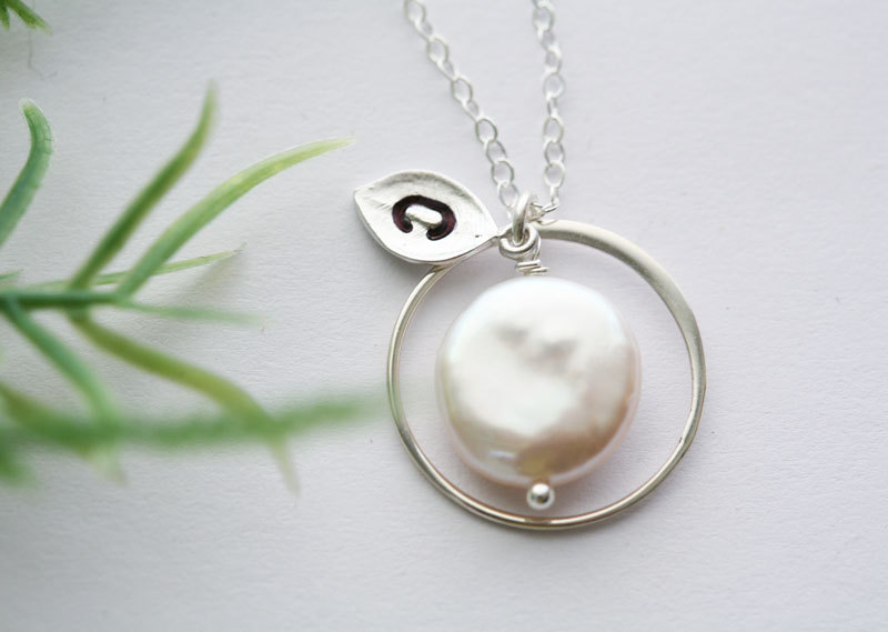 Eternity circle necklace,Coin Pearl, Leaf Initial, Bridesmaid gifts,wedding jewelry,Halo necklace,Everyday jewelry
