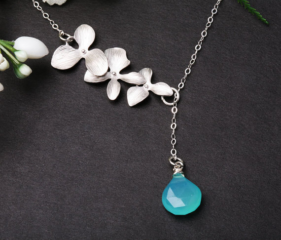 Orchid flower sterling silver necklace,Aqua chalcedony,flower necklace,wedding jewelry,bridesmaid gifts,flower girl,birthday gift