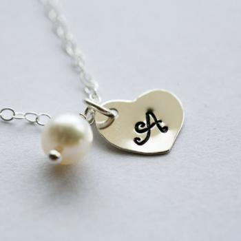 Tiny Single initial Necklace,Heart Initial Sterling Silver Necklace,Wedding Jewelry,Flower Girl,Bridesmaid gifts,Monogram Customize Necklac