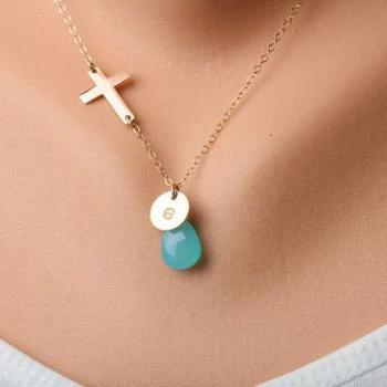 Gold Cross necklace,Blessed necklace,Small GOLD FILLED Cross,Custom initial and birthstone,Original design,birthday