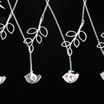Set of 4,lovely bird and leaf sterling silver necklace, custom initial,bridesmaid gifts,wedding jewelry,bridal,monogram stamped initial