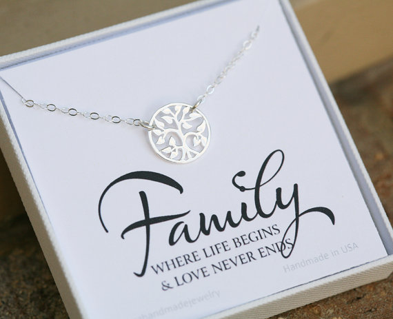 Family Tree Necklace Mother 39 S Day Gift Gift For Mother